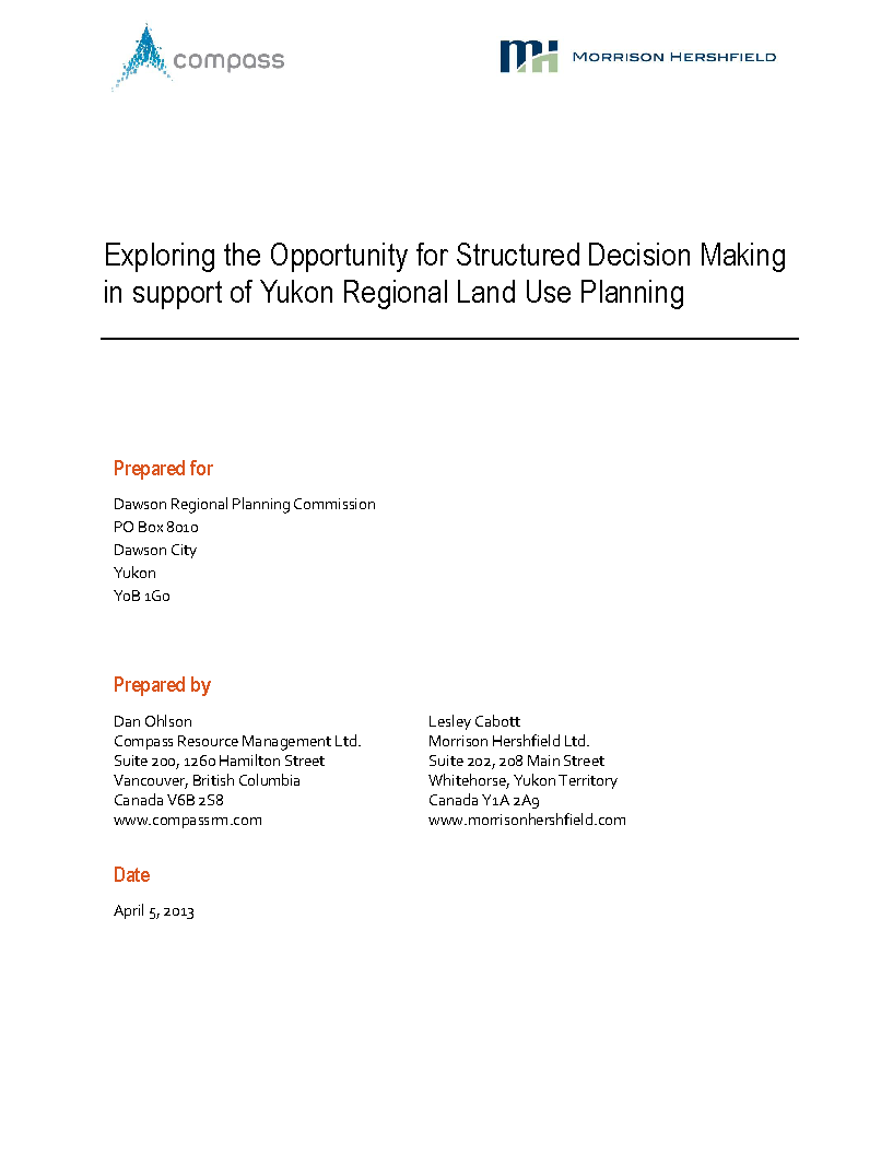 SDM for Yukon Regional Planning
